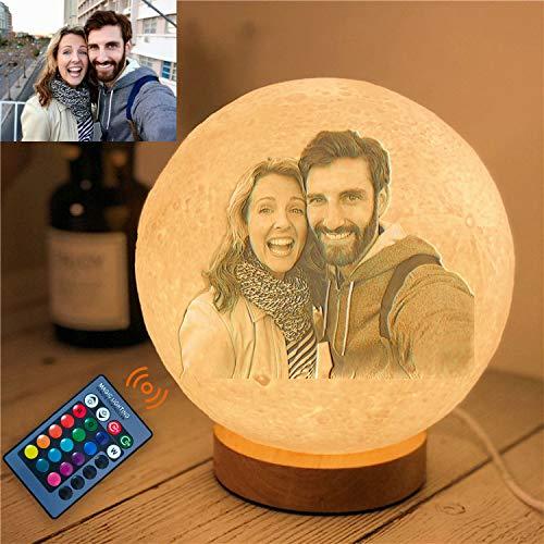Benutzerdefinierte personalisierte 3D-Foto Mondlampe, 16 Farbe Mondlampe Nachtlicht, Geburtstag Weihnachten Valentinstag Geschenke für Frauen (18cm/7.1in)