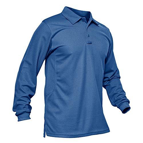 KEFITEVD Poloshirt Herren Langarm Laufshirt Atmungsaktiv Casual Golf Jersey Sweatshirt Longsleeve Frühling Sommer Outdoor Sport Polo Tshirt Männer Königsblau XL