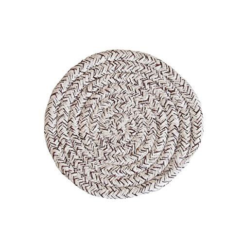 LZZR Handarbeit Baumwolle Seil Platzdeckchen Hand gesponnene Tischsets Servietten Geschirr Getränk Cup Coaster Isolierung Pad Küche Abendessen Wohnkultur (Color : Coffee, Size : Round)