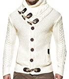 Mens Sweaters Turtleneck Cable Knit Button Down Cardigans Chunky Casual Fall Winter Jackets Coats (X-Large, White)