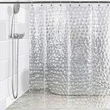 KEDSUM Duschvorhang EVA Duschvorhang 3D Effekt Wasserwürfel Wasserdicht & schimmelresistent Badezimmer Vorhang Haken 180 x 180 cm