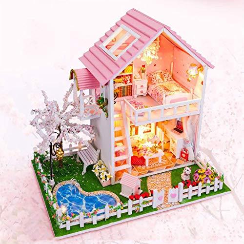 NAN DIY Toy House, 3D en Bois Assemblé Mini Toy House Toy Chambre Meubles Kit Fun Assemblage Jouet Cadeaux pour Enfants
