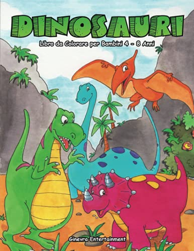 Dinosauri Libro da Colorare per Bambini 4-8 Anni