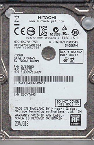 HTS547575A9E384, PN 0J15083, MLC DA3872, Hitachi 750GB SATA 2.5 dysk twardy