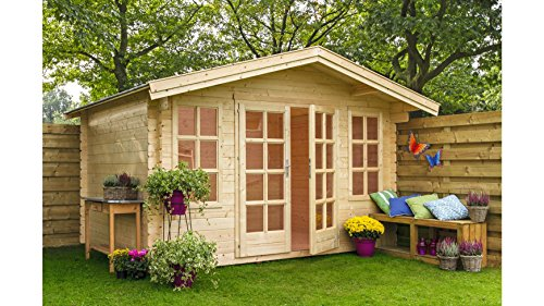 OUTDOOR LIFE PRODUCTS Set: Gartenhaus Kalmar 2, BxT: 340x340 cm, 22 mm Natur