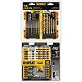 DEWALT DW1354 14-Piece Titanium Drill Bit Set, Yellow and DEWALT DWA2T40IR IMPACT READY FlexTorq Screw Driving Set, 40-Piece