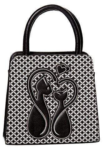 Retro Vintage Gothic Cat Handtasche von verbotenen Bekl - Black/White / One Size