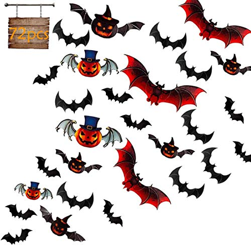 HOMEK Halloween 3D Bats Wall Decals, 72 Pack Halloween Bats Wall Stickers Scary PVC Colorful Bats Sticker for Home Decor DIY Window Decal Bathroom Indoor Hallowmas Party Supplies