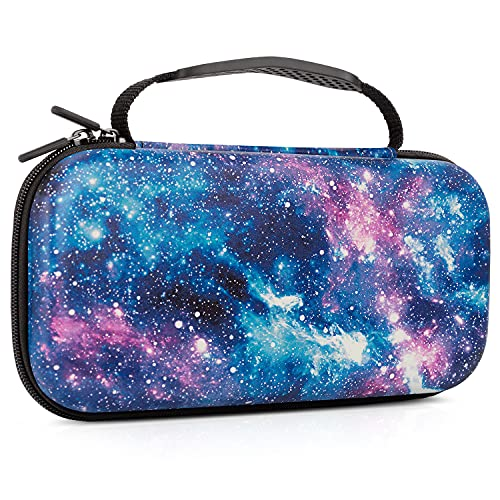 Lokigo Space Carry Case for Nintendo Switch OLED Model 2021/Switch Case 2017, Nintendo Switch Travel Case Girls with 20 Game Card Slots for Nintendo Switch Console Joy-Con & Accessories (Galaxy)