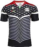 XinYunLD Palestine RWC Jersey de Rugby, Blanc Noir Série NRL Coupe du Monde Coton Coton T-Shirt Graphique Rugby Sleeve Sleeve Pro Jersey, pour Mari ou Fils (Color : Black, Size : L)