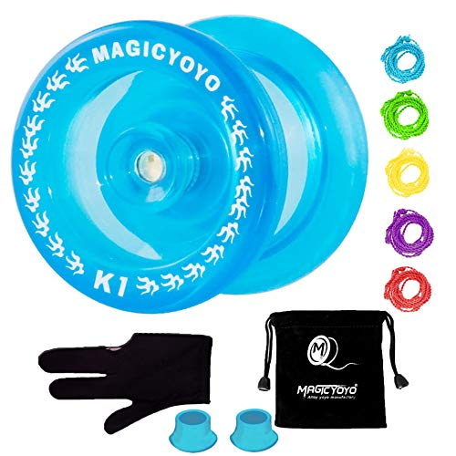 MAGICYOYO K1 Yoyo Responsive Ball Bearing Yoyo for Beginner Kids, Plastic ABS Yoyo with Yoyo Glove+Yoyo Bag+5 Replacement Yoyo Strings (Crystal Blue)
