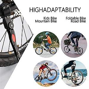 Soporte Ajustable Pata de Cabra Aleación de Aluminio Soporte de bici Pata de cabra de goma lateral de Bicicleta Adecuado para bicicleta de montaña, Carretera Bicicleta, Adulto bicicletas (white)