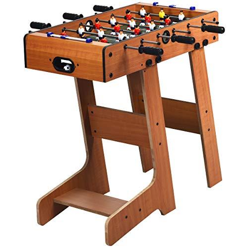 GOPLUS Klappbares Tischfußball, Tischkicker mit 18 Spielfiguren und 2 Fußbälle, Kickertisch mit nahtlos hochgezogenen Spieldecken, für Kinder und Erwachsene, Holzoptik