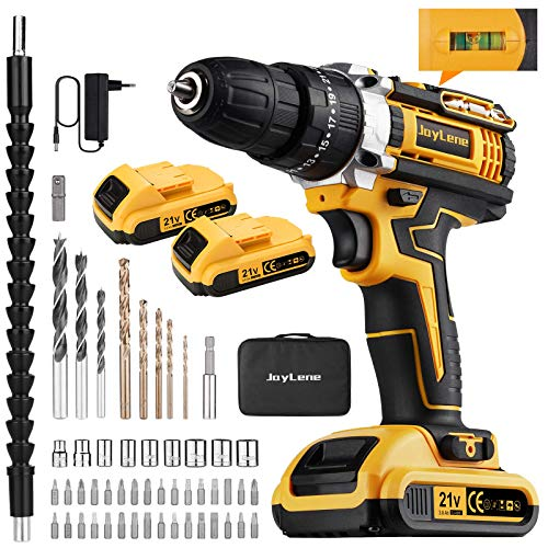 JayLene 21V Cordless Drill Set,Power Drill 59Pcs with 3/8 Inch Keyless Chuck,25 3 Clutch Electric Drill with Work Light(Max torque 45Nm,2-Variable Speed & 2 Batteries and Fast Charger)
