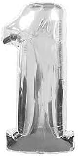 بالونات من القصدير بلون فضي على شكل ارقام لتزيين حفلات اعياد الميلاد وحفلات الزفاف (رقم 1) 35 انش من غلف ديلز