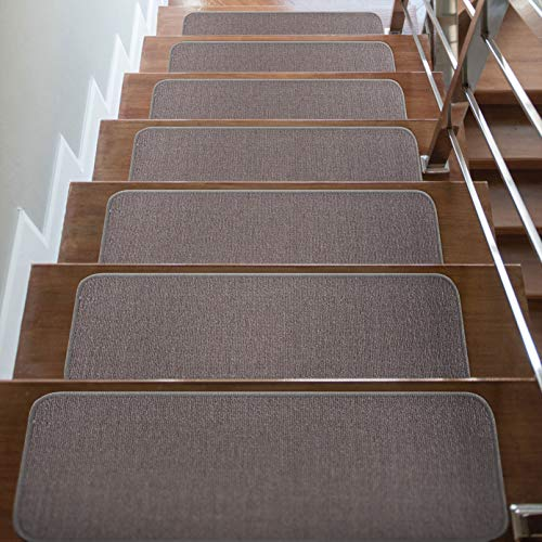CAMILSON Stair Treads Runner Mats - Non Slip Indoor Outdoor Carpet - Pet Dog Stair Pads Step Covers (Set of 7, Solid Grey)