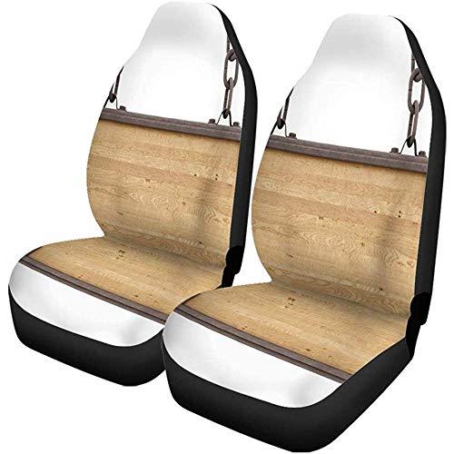 Beth-D autostoelhoezen van hout, plaat van hout, antiek wit, metaal, set met 2 accessoires voor auto, geschikt voor vrachtwagens