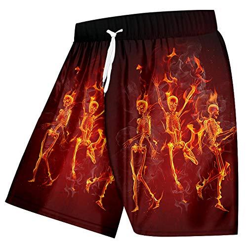 Short Homme Short De Plage Drôle 3D Imprimé Homme Shorts Intéressants Noir Rouge Danse Créative Crânes De Flamme Vêtements pour Hommes-Flame_Skulls_5XL