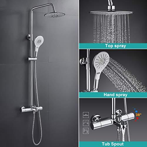 BONADE Duschsystem mit Thermostat Duscharmatur Regendusche mit 9 Zoll Kopfbrause, Handbrause und Wannenthermostat, Verstellbare Duschstange 88~145 cm, Edelstahl Duschset Duschsäule für Bad, Chrom