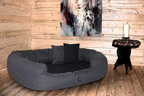 tierlando® Luxus orthopädisches Hundesofa BALOU Hundebett Visco Plus Matratze | Handwebcharakter | Premium-Lounge! Gr. XL 110cm Grau Töne