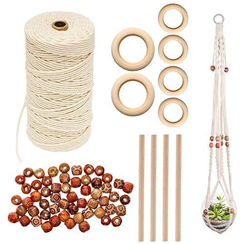 Cordón de Macramé Natural, Vibury 100m x 3mm Algodón Cuerda Trenzado con 60 cuentas de madera 6 anillo de madera y 4 palo de madera para DIY Hecha a Mano Craft