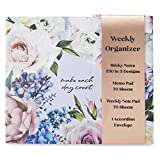 Charming Charlie'Make Each Day Count' Weekly Organizer - Accordion Envelope, Weekly Planning Pad - Dark Floral