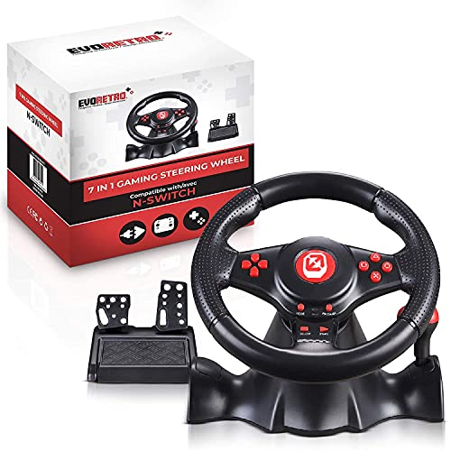 EVORETRO Deluxe Gaming Steering Wheel with Pedals compatible for Nintendo Switch and PS4 - Great for Mario Kart 8 - For PC/PS3. Best gaming desk accessories!