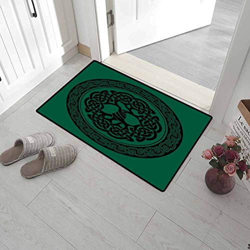 Leigh R. Avans Front Door Mat Outdoor Celtic Home Plate Doormat Monochrome Tree of Life Illustration with Ancient Timeless European Motif 20' x 31' Forest Green Black