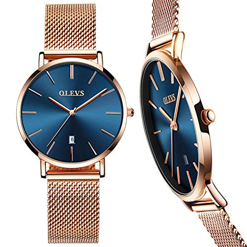 Ultra Thin Watch Women,Rose Gold Watches for Women,Watches for Women on Sale Clearance,Womens Watches Blue,Gold Watches for Women,Ladies Watch Date,Simple Ladies Watch,Female Watch,Casual Lady Watch