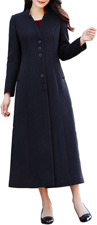 PENER Winter Women's Warm Black Long Cashmere Woolen Coat