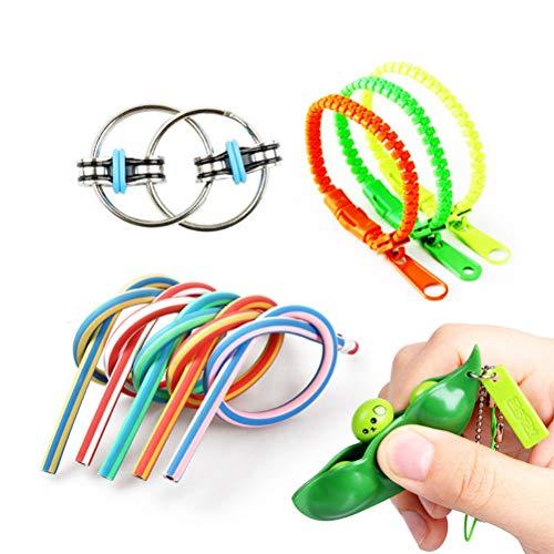 YEKKU Sensory Toys Set, 5PCS lindert Stress und Angst Toy Zipper Bracelet Squeeze Beans Schlüsselbund Weiche Stifte Sensory Therapy Toys für Autismus ADHS