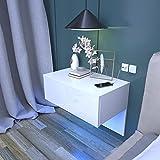 Dripex Nachttisch hängende mit Schublade, Wandregal Wandboard Weiß Hochglanz, Holz Nachtkommode Nachtschrank schwebend mit LED Beleuchtung,60 x 46 x 35 cm