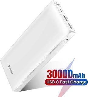 S9 Note 10 + Batterie Externe 30000mAh Power Bank USB C Chargeur Rapide pour iPhone 11 Pro X XS 8 Plus iPad Huawei Blanc Mac Charge Standard pour Samsung Galaxy S10