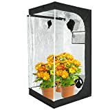 VERTOR VT 32'x32'x63'Reflective Mylar Hydroponic Grow Tent with Observation Window and Floor Tray for Indoor Plant Growing 2.5x2.5 (for 3 Plants)