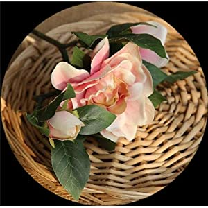 Artificial and Dried Flower DIY Artificial Gardenia Flowers Home Garden Party Decoration Craft Simulation Flores Flowers Wedding Fake Florals 4 Colors 47cm – ( Color: Pink )