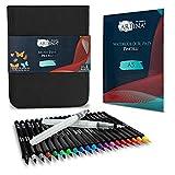 Artina Pincelli Set di 20 Brush Pens, Pennarelli per Acquerelli + 2 pennelli ad Acqua da Disegno e Blocco Acquerello A5 - Pennarelli Acquerellabili per Adulti e Bambini - per disegnare e colorare