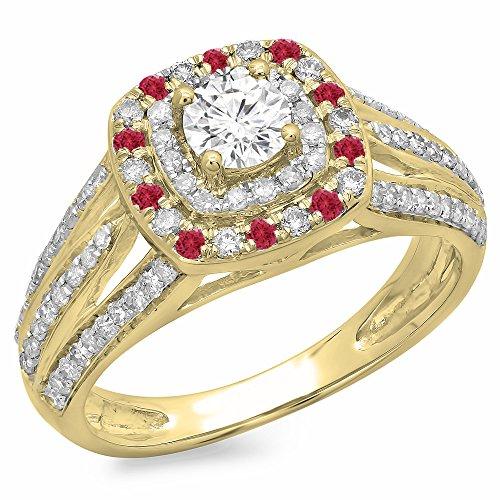 Damen Ring 14 Karat Weißgold Rund Schnitt Echte Rubin & Diamant Vintage Style Halo Verlobungsring