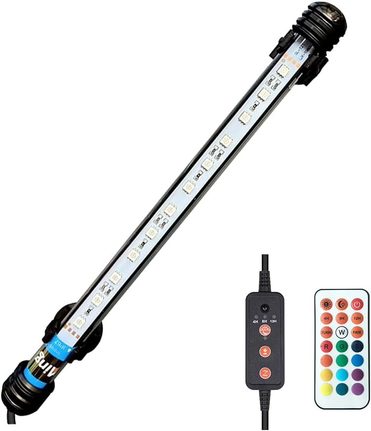 Viilich Lampada a LED per acquario,con telecomando,impermeabile,colore RGB,luce sommergibile per acquario,con timer on/off automatico,28 cm