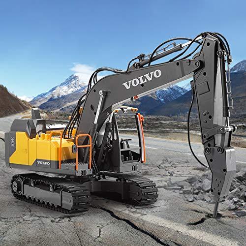 Fujinfeng Escavatore Professionale Radiocomandato, 3 in 1 Veicoli da Costruzione per Bambini, Escavatore Camion Giocattolo Modellini e Veicoli