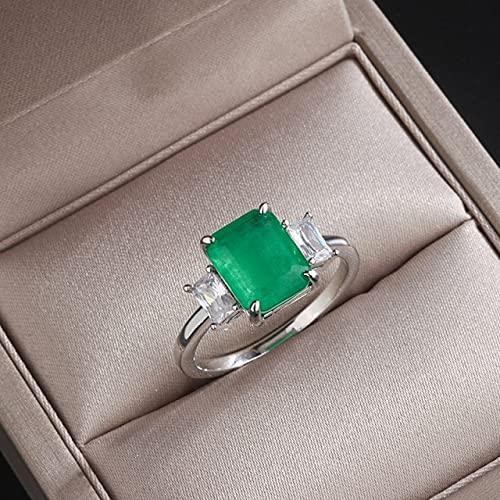 DJMJHG Anillo de Esmeralda Rectangular de 8 × 10 mm para Mujer, joyería de Plata 925, Piedras Preciosas geométricas, Regalo Femenino Elegante Vintage 6 Verde