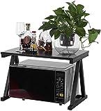 Greensen Scaffale per forno a microonde, in acciaio inox, per forno a microonde, a 2 livelli, per cucina e piano di lavoro, multifunzione, portaspezie nero