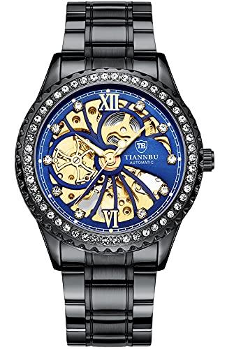 Relojes Hombre Mecánico Automático Acero Inoxidable Impermeable Relojes de Pulsera Esfera de Diamante Dial Esqueleto Analógicos Relojes Mujer Elegante Clásico Casual Negro