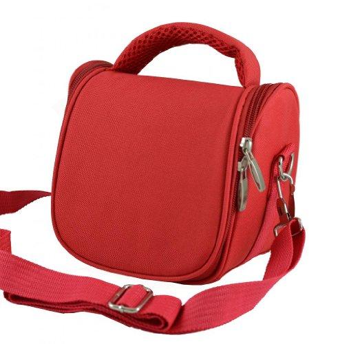 AR2 de color rojo de cámara de fotos funda con función de bolsa para raquetas de tenis y pantalla a juego para Praktica Luxmedia 16 Z21S Luxmedia 16 Z26S