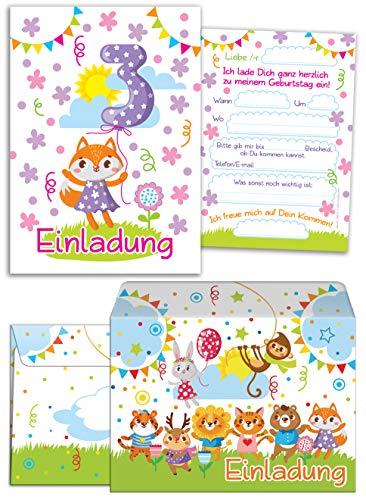 12 Einladungskarten zum 3. Kindergeburtstag für Mädchen incl.12 Umschläge / Bunte Einladungen zum Geburtstag für Mädchen Süße Tierchen / Süße Fuchs (12 Karten + 12 Umschläge)