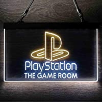 Playstation Game Room Kid パーソナライズされたマイホームバーの装飾 Man Cave LED看板 ネオンサイン バーライト 電飾 ビールバー 広告用標識 白色 + 黄色 W60cm x H40cm