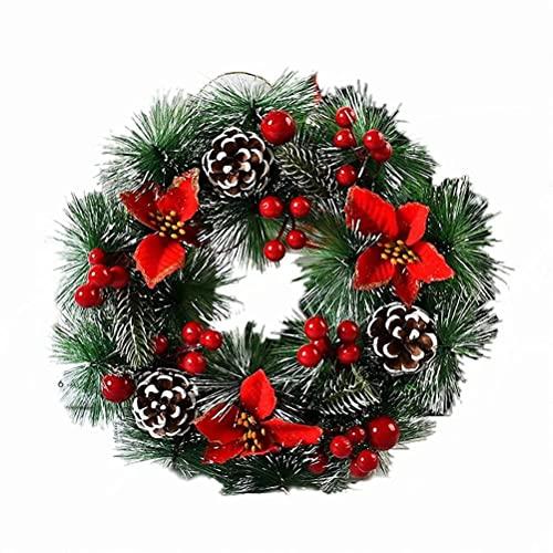 HAOJON Guirnalda de Cono de Pino de Bayas navideñas, Adorno de Puerta de Entrada de país, Guirnalda de Pino Artificial de 13 Pulgadas para el hogar, decoración de Fiesta de Vacaciones de Invierno
