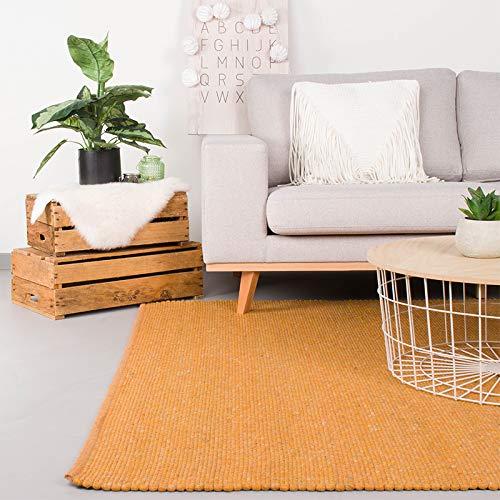FRAAI | Home & Living Wollteppich – Wise Gelb, Wolle, Teppich, super weich und warm, ockergelb,...