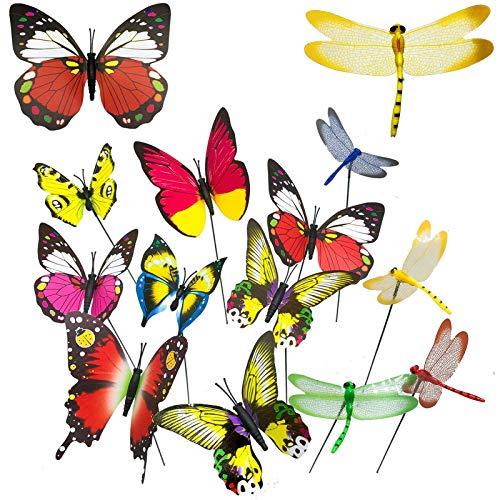 AIVORIUY 70pcs Libélula y Mariposas de Jardín en Estacas, Colorido Prueba de...