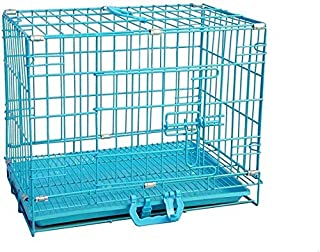 RvPaws Easy to Move with Removable Tray Iron Cage for Dog & Rabbit 18 Inch Sky Blue