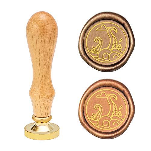 CRASPIRE Sello de cera pulpo, sello de cera vintage, sello de mango de madera retro, cabeza de latón reemplazable, 25 mm para sobres, invitaciones, tarjetas de adorno